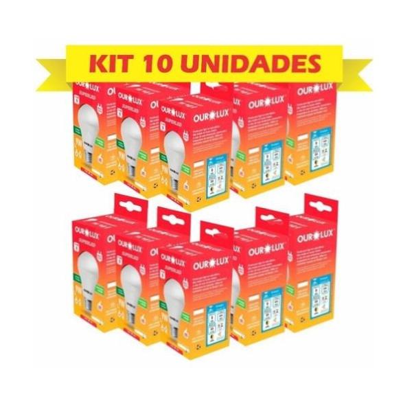 KIT COM 10 LAMPADAS LED BULBO 09W BIVOLT 6500K BRANCO FRIO-OUROLUX