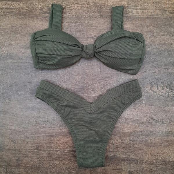Biquíni Cropped Drapeado Verde Militar Texturizado