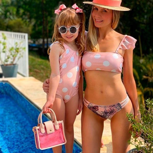 Biquíni Mãe e Filha Poá Rosê