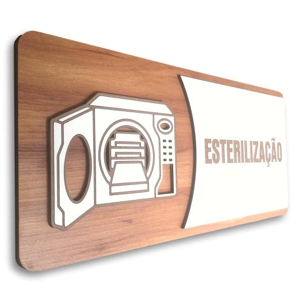 Placa De Sinalização | Esterilização - MDF 30x13cm