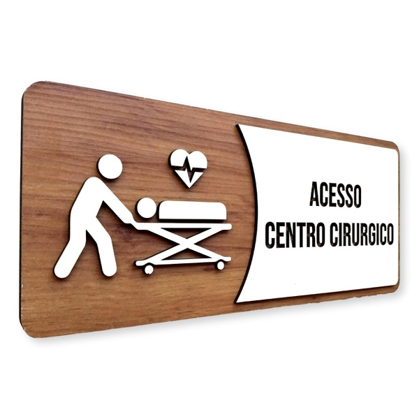OUTLET - Placa De Sinalização | Centro Cirúrgico - MDF 30x13cm