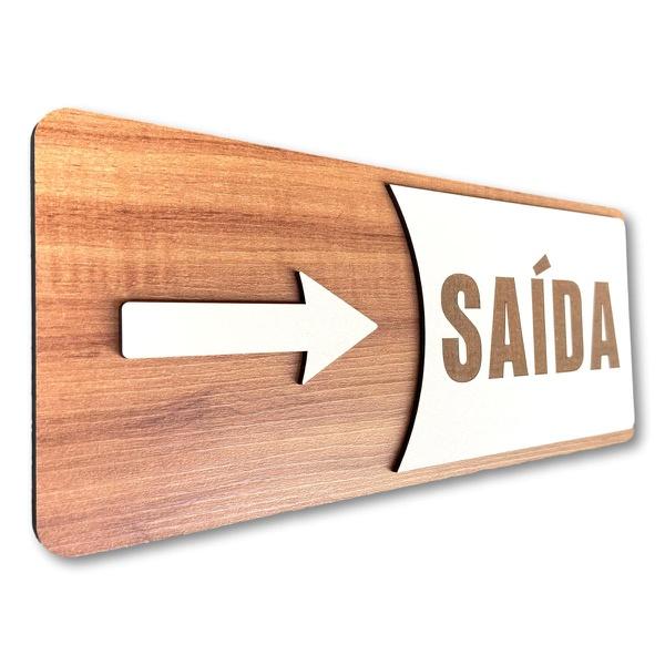 Placa De Sinalização | Saída (com seta) - MDF 30x13cm