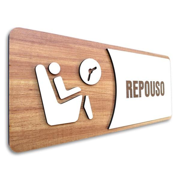 Placa De Sinalização | Repouso - MDF 30x13cm
