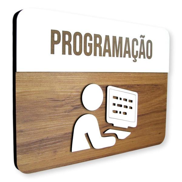 Placa De Sinalização | Programação - MDF 30x21cm