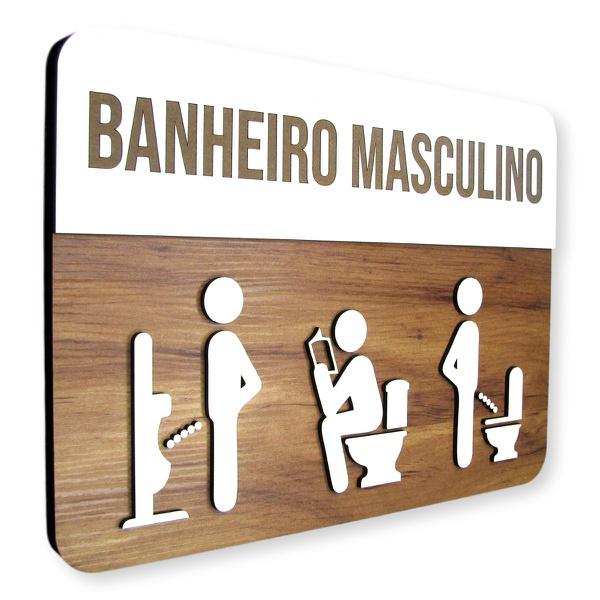 Placa De Sinalização | Banheiro Masculino - MDF 30x21cm
