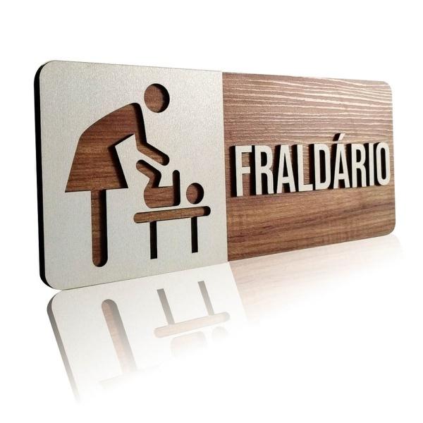 Placa De Sinalização | Fraldário - MDF 30x13cm