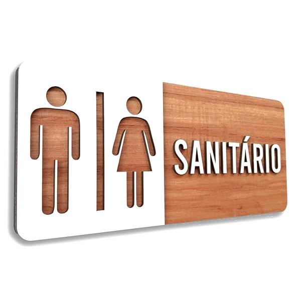 Placa De Sinalização | Sanitário - MDF 30x13cm
