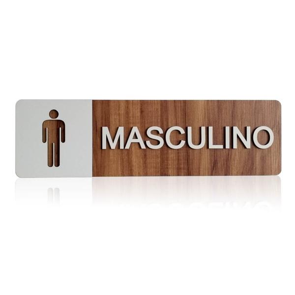 Placa De Sinalização | Masculino - MDF 30x13cm