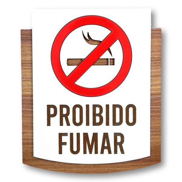 Placa De Sinalização | Proibido Fumar - MDF 15x13cm