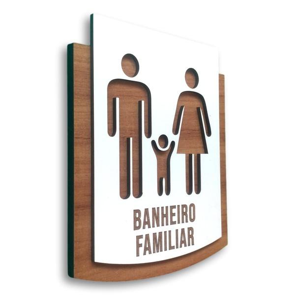 Placa De Sinalização | Banheiro Familiar - MDF 15x13cm