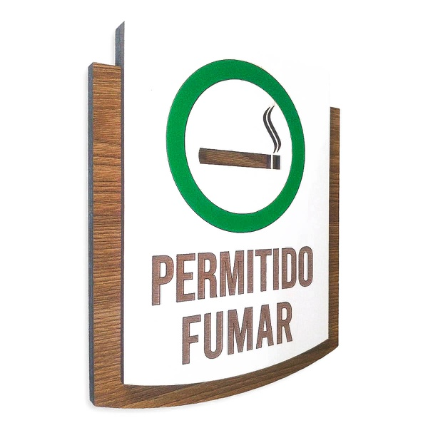 Placa De Sinalização | Permitido Fumar - MDF 15x13cm