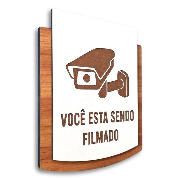 Placa De Sinalização | Câmera de Segurança - MDF 15x13cm