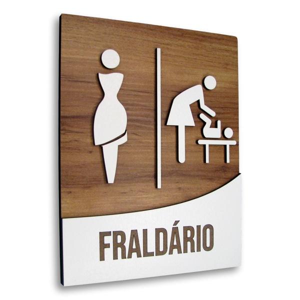 OUTLET - Placa De Sinalização | Fraldário - MDF 18x14cm