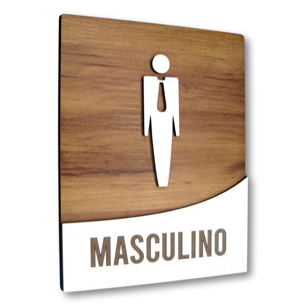 Placa De Sinalização | Masculino - MDF 18x14cm