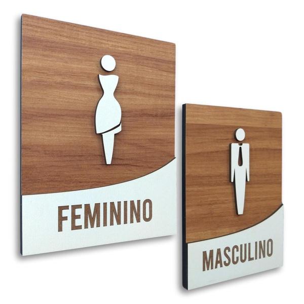 Kit Placa De Sinalização | Masculino - Feminino 18x14cm