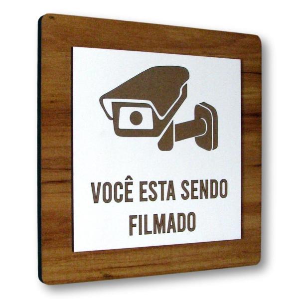 Placa De Sinalização | Câmera de Vigilância MDF 15x15cm