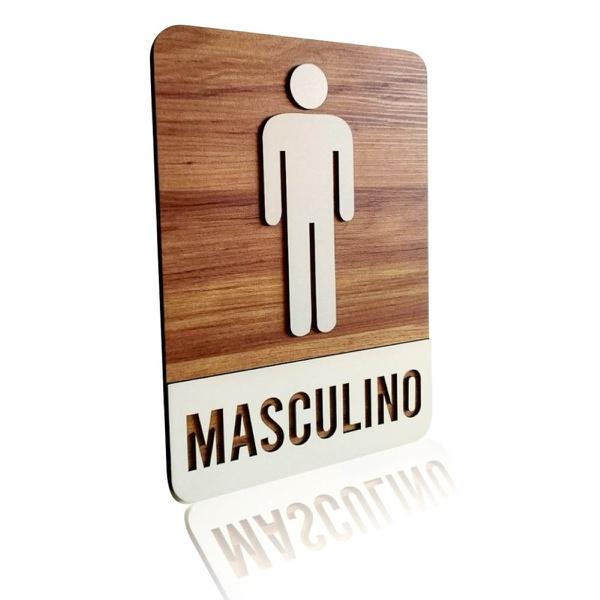 Placa De Sinalização | Masculino - MDF 21x30cm