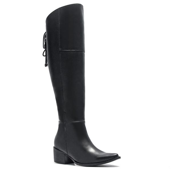 Bota Casual Feminina - Napa Comfort Preto - Bico Fino - Over Knee - Solado Colorplac - Pele Nativa - 14053-A-PN