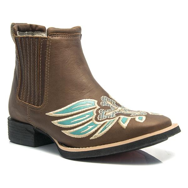 Botina Feminina - Dallas Castor / Turquesa - Roper - Bico Quadrado - Solado VTS - Vimar Boots - 12129-A-VR