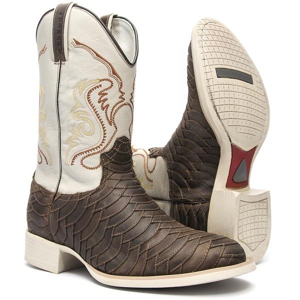 Bota Texana Masculina - Escamada Dallas Brown / Marfim - Roper - Bico Redondo - Cano Médio - Solado Nelore - Vimar Boots - 81048-A-VR