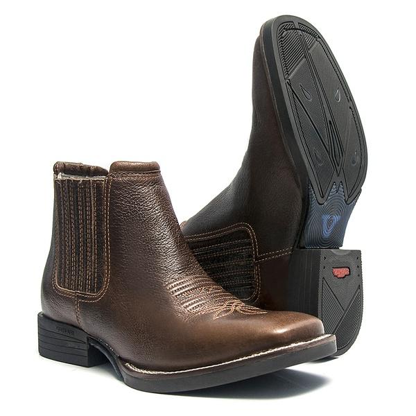Botina Masculina - Texas Café - Roper - Bico Quadrado - Cano Curto - Solado Freedom Flex - Vimar Boots - 82051-C-VR