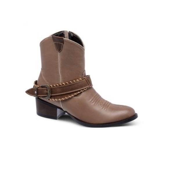 Bota Texana Feminina - Napa Comfort Rum / Castor - Western - Bico Redondo - Cano Curto - Solado Colorplac - Vimar Boots - 11167-A-VR