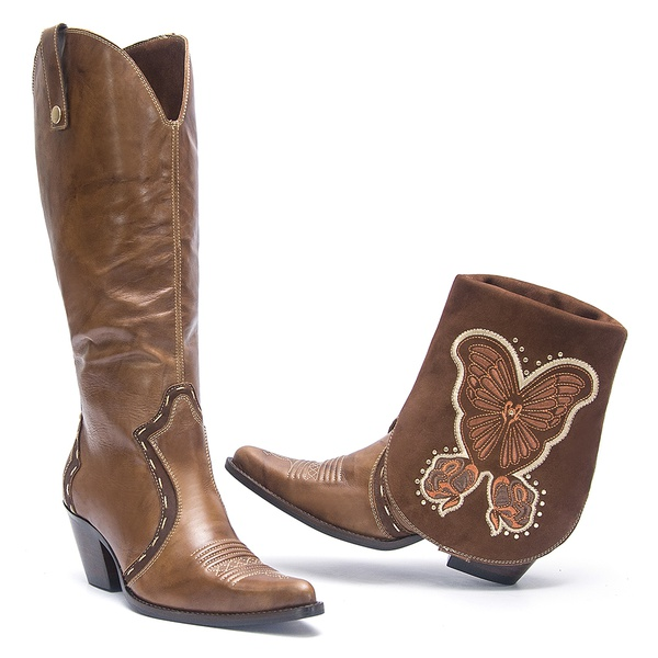 Bota Texana Feminina - Firenze Havana / Nobuck Havana - Western - Bico Fino - Cano Dobrável - Solado Colorplac - Vimar Boots - 10217-A-VR