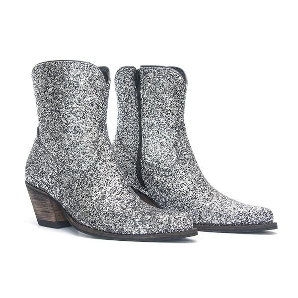 Bota Texana Feminina - Full Glitter Max Preto com Prata - Western - Bico Fino - Cano Curto - Solado Colorplac - Vimar Boots - 11177-C-VR