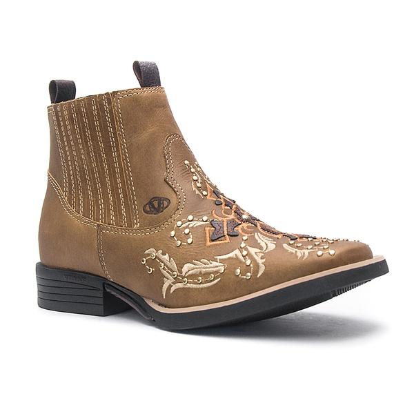 Botina Feminina - Dallas Bambu / Café - Roper - Bico Quadrado - Solado Freedom Flex - Vimar Boots - 12173-B-VR