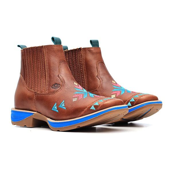 Botina Feminina - Atlanta Café   Celeste - PX Flex - Vimar Boots - 12186-A-VR