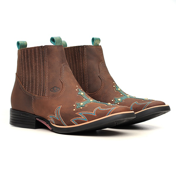 Botina Feminina - Dallas Castor | Fóssil Flex Azul Dourado - Freedom Flex - Vimar Boots - 12188-A-VR