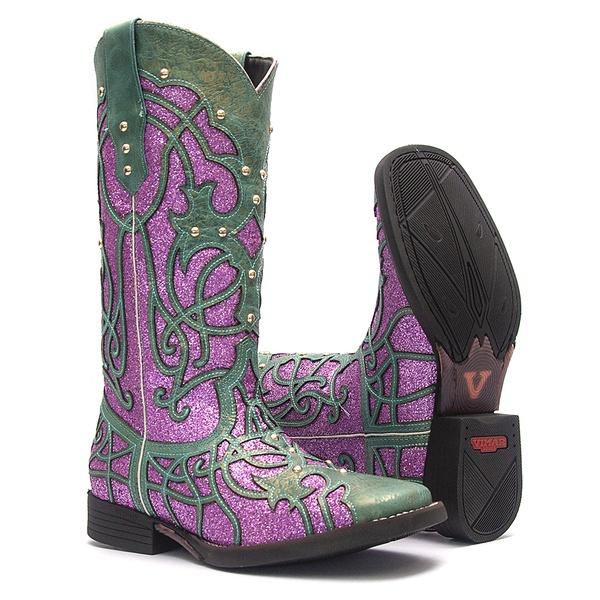 Bota Texana Feminina - Fóssil Flex Azul Dourado / Glitter Rosa - Roper - Bico Quadrado - Cano Longo - Solado Freedom Flex - Vimar Boots - 13089-I-VR