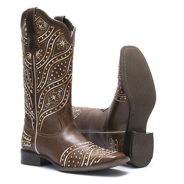 Bota Texana Feminina - Atlanta Café - Roper - Bico Quadrado - Cano Longo - Solado Nevada - Vimar Boots - 13099-A-VR