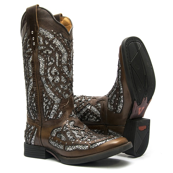 Bota Texana Feminina - Atlanta Brown / Glitter Preto com Prata - Roper - Bico Quadrado - Cano Longo - Solado Freedom Flex - Vimar Boots - 13119-F-VR
