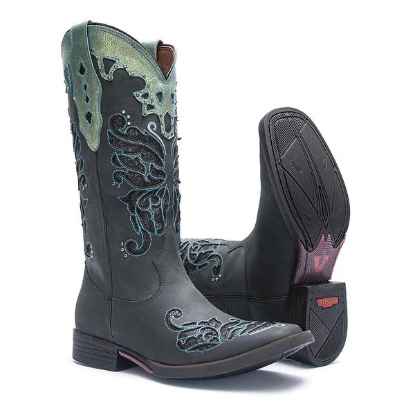 Bota Texana Feminina - Fóssil Preto / Glitter Preto - Roper - Bico Quadrado - Cano Longo - Solado Freedom Flex - Vimar Boots - 13120-B-VR