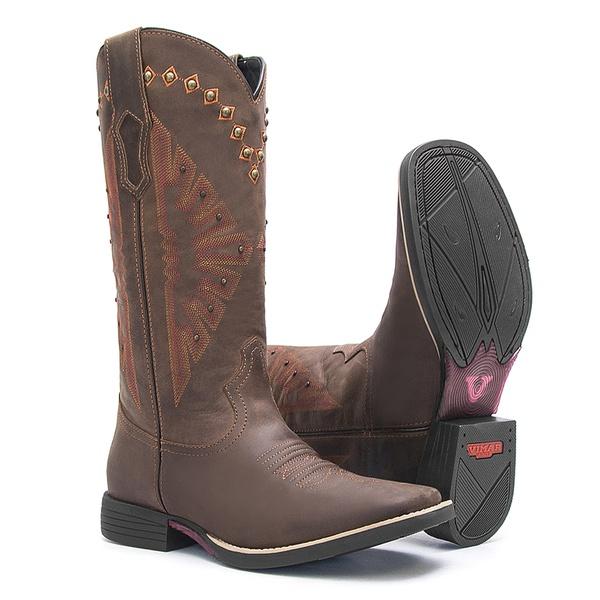 Bota Texana Feminina - Dallas Castor - Roper - Bico Quadrado - Cano Longo - Solado Freedom Flex - Vimar Boots - 13128-A-VR