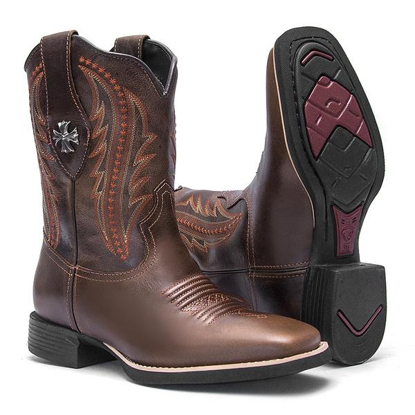 Bota Texana Feminina - Atlanta Brown - Roper - Bico Quadrado - Cano Curto - Solado VTS - Vimar Boots - 13129-A-VR