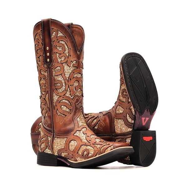 Bota Feminina - Dallas Bambu | Glitter Maxxi Ouro - Freedom Flex - Vimar Boots - 13147-C-VR