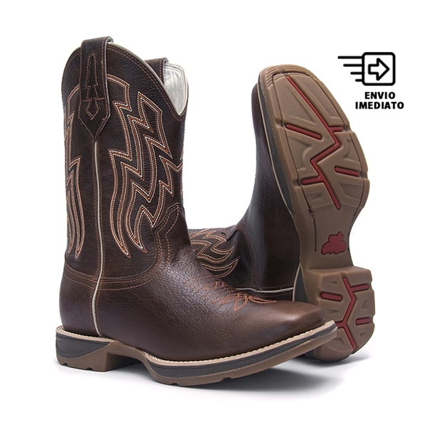 Bota Texana Masculina - Texas Café - Roper - Bico Quadrado - Cano Médio - Solado PX Flex - Bulls Horse - 50026-A-BU