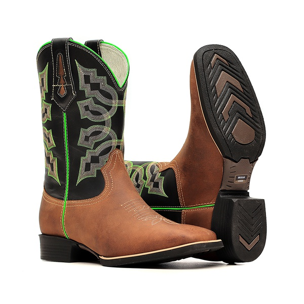 Bota Masculina - Dallas Tabaco | Preto - Texas B - Bulls Horse - 50031-A-BU