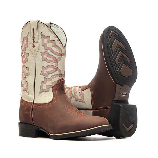 Bota Masculina - Crazy Horse Café | Marfim - Texas B - Bulls Horse - 50031-B-BU