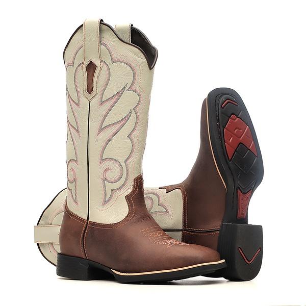 Bota Feminina - Dallas Castor   Marfim - VTS - Bulls Horse - 53016-B-BU