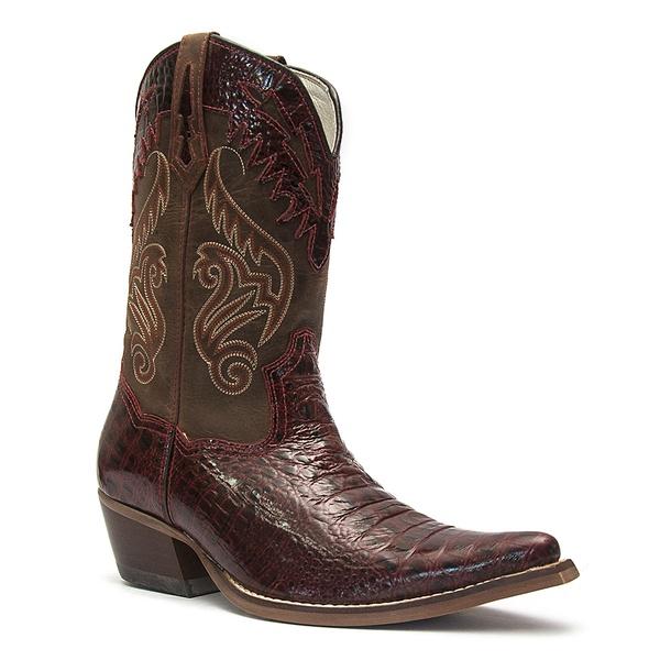 Bota Texana Masculina - Jacaré Dubai Vermelho / Castanho - Western - Bico Fino - Cano Médio - Solado Colorplac - Vimar Boots - 81175-A-VR