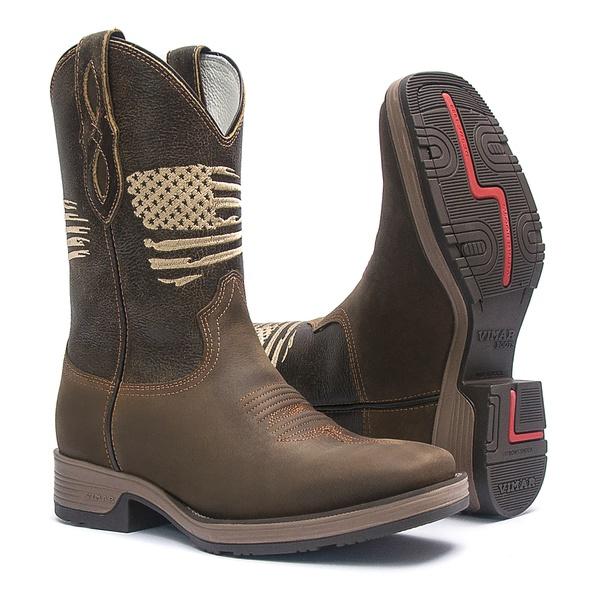 Bota Texana Masculina - Crazy Horse Café / Tabaco - Roper - Bico Quadrado - Cano Médio - Solado Strong Shock - Vimar Boots - 81283-A-VR