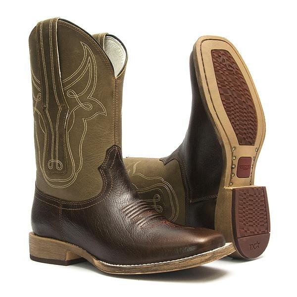 Bota Texana Masculina - Texas Café / Tabaco - Roper - Bico Quadrado - Cano Médio - Solado TXS - Vimar Boots - 81296-A-VR