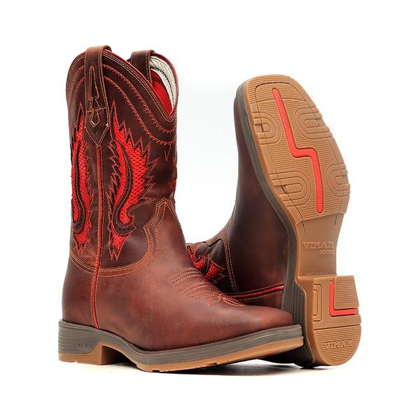 Bota Masculina - Fóssil Sella | Airtek Vermelho - Strong Shock - Vimar Boots - 81308-A-VR