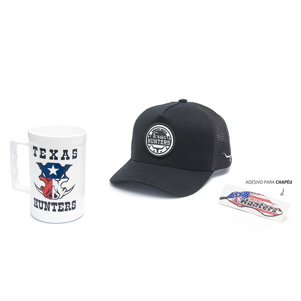 Boné Trucker Texas Hunters - Country Rustic - Preto - CAP-002-THS