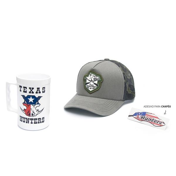 Boné Trucker Texas Hunters - Crossed Rifle Boar - Cinza / Cinza / Camuflado - CAP-005-THS