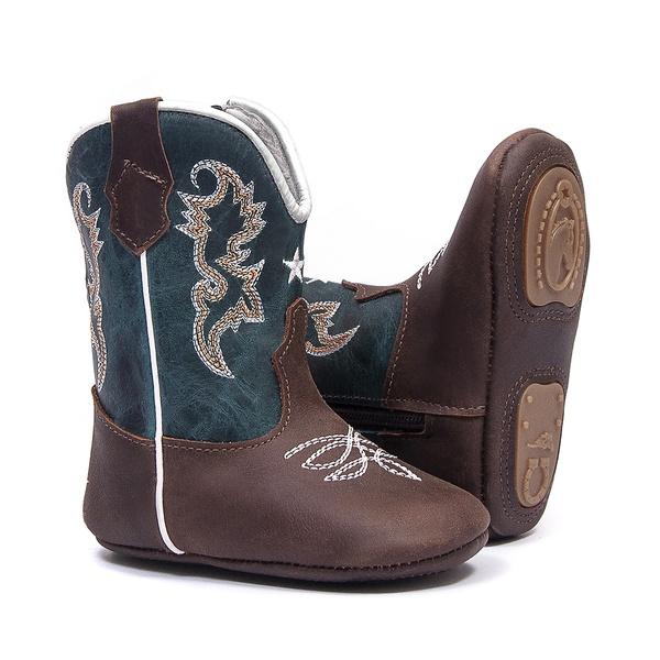 Bota Texana Baby - Dallas Castor / Celeste - Comfort - Bico Redondo - Cano Longo - West Country - 27001-E-WC