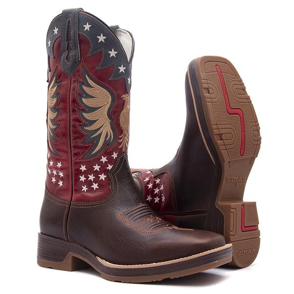 Bota Texana Masculina - Texas Café / Red / Marinho - Roper - Bico Quadrado - Cano Longo - Solado Strong Shock - Vimar Boots - 80053-A-VR